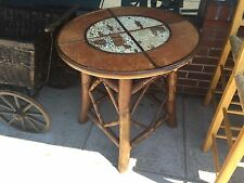ROUND PUB TABLE CABIN RUSTIC LODGE BIRCH LOG