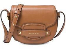 8d19c7315324 New MICHAEL KORS leather saddle MIni crossbody bag acorn gold flap gold  studs