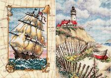 Lot of 2 Counted Cross Stitch Kits VOYAGE AT SEA~CLIFFSIDE BEACON Dimensions