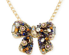 Betsey Johnson WOVEN CLUSTERS Embellished Bow Pendant Gold Tone Necklace $65