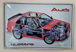 Audi Blechschild, Audi Sport quattro Querschnitt, 20x 30cm