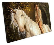 UNICORN AND MAIDEN CANVAS WALL ART PICTURE LARGE 75 X 50 CM