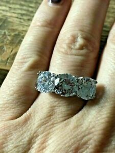 3Ct Round Cut Diamond Three Stone Solitaire Engagement Ring 14K White Gold Over