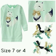 7 NWT Gymboree All Spruced up Turquoise  Fox warm Dress Sparkly Girls + clips