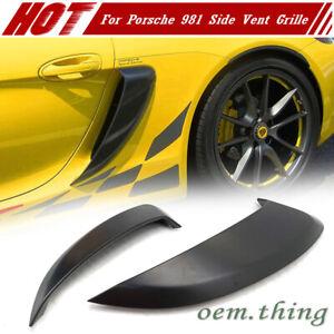Fit FOR Porsche 981 GT4 Boxster Cayman Side Air Intakes Vents Grilles Matt Black