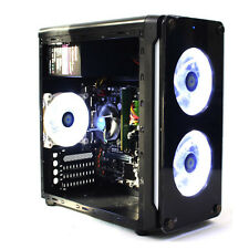 M-ATX Acrylic Window Computer Case Tempered Glass Typhoon Ring LED Fan USB 3.0