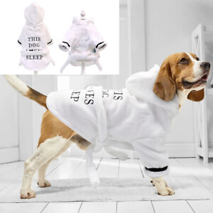 Fleece Pet Cat Dog Night Robe Dog Pajamas Dog Bathrobe Dressing Absorbing Gown