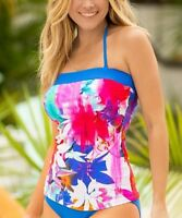 Bandeau Tankini Top & Bikini Bottoms Size UK 8 Ladies Fuchsia & Blue BNWT #S-15