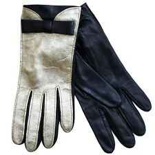 NWT MOSCHINO CHEAP AND CHIC ITALY GOLD BLACK BOW LEATHER WOMEN GLOVES SIZE 7
