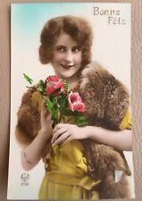 Antique 1920s Postcard French Bonne Fete Flapper Lady Noyer Hand Tinted Domis