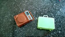 Vintage Original Barbie Doll Accessories Green Suitcase and Record Player Mattel