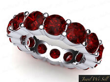 Natural 6.45Ct Round Ruby Classic Shared Prong Eternity Band Ring 10k White Gold
