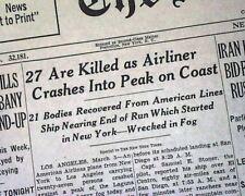 THING MOUNTAIN Mt. Laguna Range San Diego DC-3 AIRPLANE CRASH 1946 Old Newspaper
