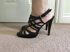 Nine West Black Leather Very High Heel Strappy Shoes Peep Toe Size 6