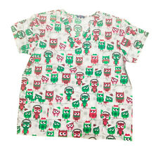 Womens Fashion Medical Nursing Scrub Tops Gray base red green owls XL