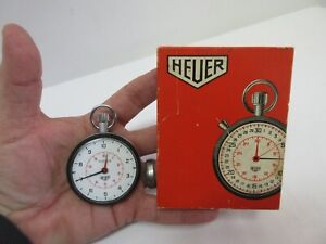 Vintage 7 Jewel Heuer Stopwatch - With Original Box & Working Great! Switzerland