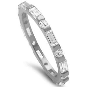 Round & Baguette Cz Band .925 Sterling Silver Ring
