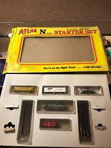 VINTAGE Atlas N SCALE Starter Train Set 7 Cars Tracks W/ Tech II RAILPOWER 1400