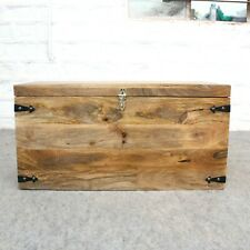 Solid wooden coffee table storage blanket box toy natural mango wood brown box