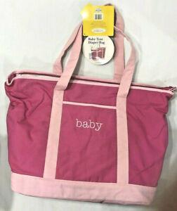 "BABYBOOM Baby Tote Diaper Bag, Fuscia Pink, 15""x13"" x 6"", NEW"