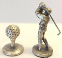Monopoly Board Game Parts: 2 Golf Tokens, Ball on Tee & Golfer Mid-Swing Club