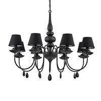 Lustre Moderne Noir A 8 Lumières avec Tissu Collection Blanche