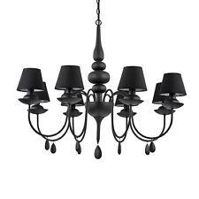 Lampadario moderno nero a 8 luci con tessuto collezione Blanche