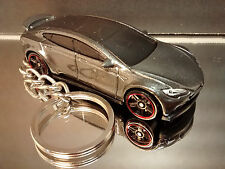 Dark Silver Tesla Model S Key Chain Ring Diecast Fob