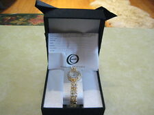 "MZ BERGER & COMPANY""Goldtone Crystalled 7-3/4"" Watch""(With White MOP Watch Face)"