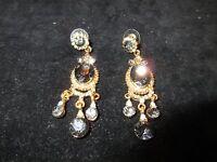 Drop Dangle Vintage Gold Tone Blue Genuine Rhinestone Crystal Earrings SHINY