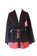 KJ-06 Noir Japon Chat Chanceux Haori Über-jacke Geisha Kimono Yukata Kawaii