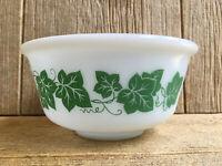 Hazel Atlas Platonite Milk Glass Green Ivy Mixing Nesting Bowl Vintage Kitchen