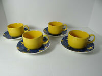 Churchill England Set of 4 Yellow Stars on Blue Cups & Saucers CCH14