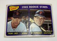 1965 Topps # 589 Frank Linzy B Schroder Rookie Stars San Francisco Giants RC