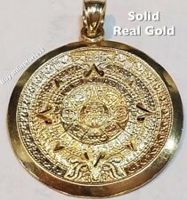 BIG 14k SOLID Pendant AZTEC Real Yellow GOLD sun CALENDAR mayan charm 3.5g 1.35