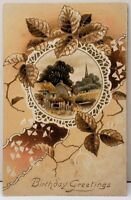 Birthday Greetings Pretty Country Scene in Cameo Shades of Browns Postcard F2