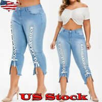 Women Slim Lace Up Jeans Pencil Pants Fashion Legging Skinny Denim Pant Trousers