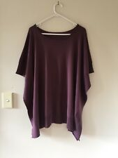 Womens Woolovers Cotton & Cashmere Oversized Trapeze Knit Jumper Purple Size M