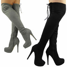 Womens Ladies Stretchy Thigh High Over The Knee Long Lace Up Heel Boots Shoes Sz