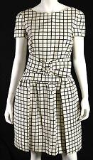 PRADA $2,870 NWT Black & White Window Check Print Silk Belted Dress 42