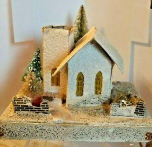 "VINTAGE CARDBOARD CHRISTMAS CHURCH ON 4 X  6½""  BASE + TREE  - JAPAN"