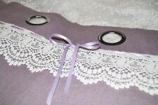 Rideaux shabby pur lin prêt à poser couleur lilas/mauve et dentelle coton écrue