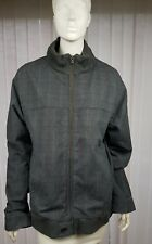"FAT FACE-Large  up to 44"" Heavy cotton zipped  jacket grey check+blue stripe-"