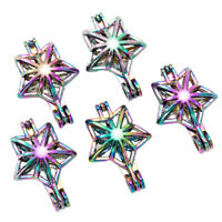 5X Rainbow Color 3D Star Pearl Cage Locket Pendant For Essential Oil Diffuser