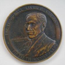 """Bronze Medallion Long Bell Lumber Co 50th Anniversary J. Kilenyi 1925 3.25"""""""
