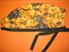 Surgical Scrub Hats/Cap Halloween Black cat witches in a jack-o-lantern patch