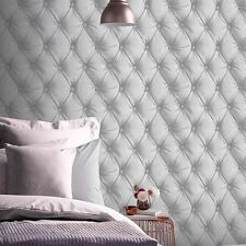 DESIRE CHESTERFIELD LEATHER EFFECT WALLPAPER SILVER GREY - ARTHOUSE 618104