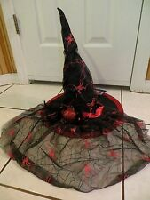 "18"" Tall Glamour Deluxe Spiders Witch Hat w/Veil Halloween Costume Red Black NWT"