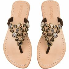 MYSTIQUE Jeweled Florence Tiger Eye Shell Stone Thong Sandals Flip Flops 7 $190