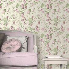 Muriva Floral Rose Flower Pattern Wallpaper Wood Beam Effect Textured L13603